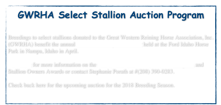 GWRHA Select Stallion Auction Program 